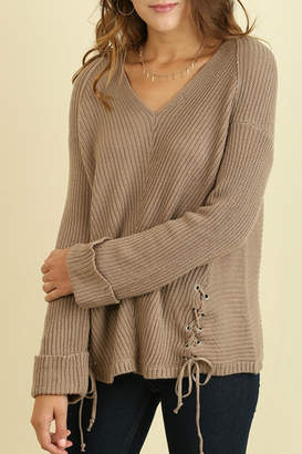 Umgee USA Mocha V-Neck Sweater