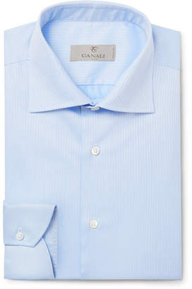 Canali Light-Blue Cutaway-Collar Herringbone Cotton Shirt