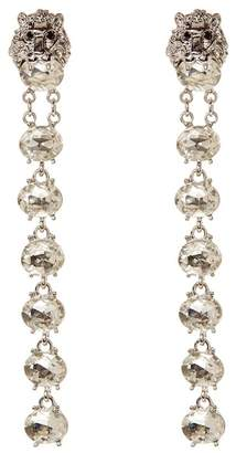 Natasha Accessories Lion Crystal Linear Drop Earrings
