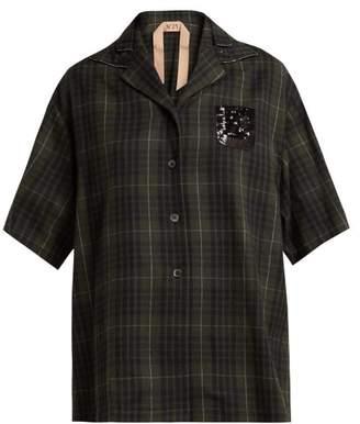 No. 21 - Crystal Embellished Checked Bowling Shirt - Womens - Green Multi