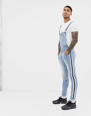 N. Liquor Poker overalls with side taping in stonewash