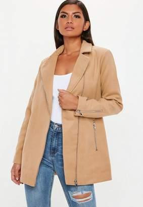 Missguided Brown Faux Wool Biker Coat