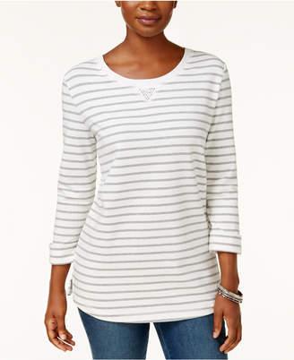 Karen Scott Striped 3/4-Sleeve Sweatshirt, Created for Macy's $39.50 thestylecure.com