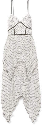 Self-Portrait Tiered Pleated Swiss-dot Chiffon Midi Dress - White