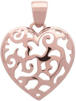 Bronzo Italia Polished Filigree Heart Pendant