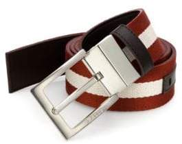 Bally Men's Tonnil Canvas Leather Belt - Chocolate - Size 32