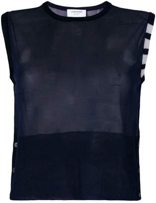 Thom Browne Sheer Classic Crew Neck Shell Top With 4-bar Stripe In Silk Tulle Knit
