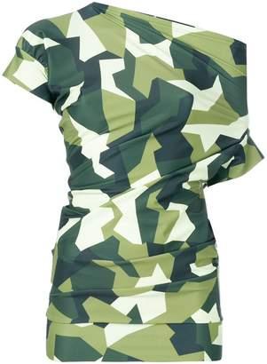 Junya Watanabe asymmetric graphic camouflage print top