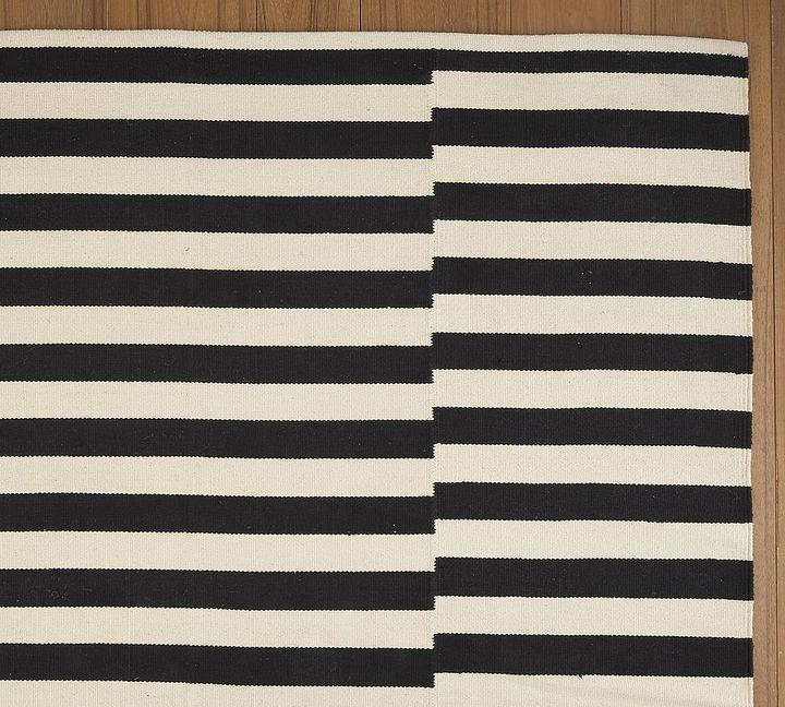 Pieced Awning Stripe Mat - Black