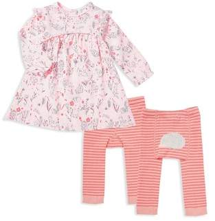 Angel Dear Girls' Mixed Print Dress & Stripe Leggings Set - Baby