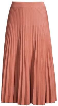 Agnona Pleated Wool Midi Skirt