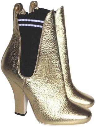 Fendi Gold Leather Ankle boots