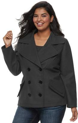 J 2 Juniors' Plus Size J-2 Oxford Wool Double Breasted Jacket