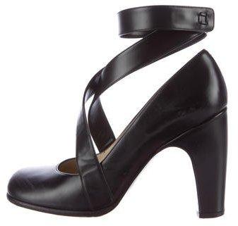 Louis Vuitton Leather Ankle Strap Pumps
