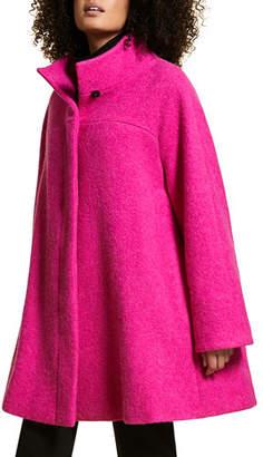 Marina Rinaldi Plus Size Funnel Collar A-Line Alpaca/Wool Coat