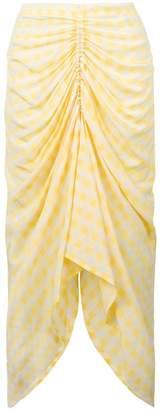 gingham draped skirt
