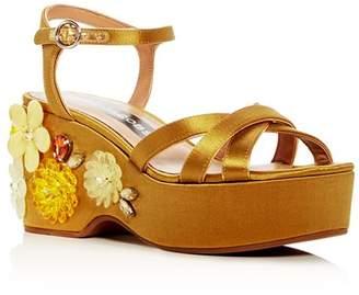 Marc Jacobs Women's Callie Embellished Satin Platform Wedge Sandals