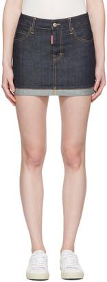 Dsquared2 Blue Denim Glam Head Miniskirt $365 thestylecure.com