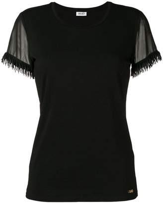 Liu Jo embellished sheer sleeve blouse