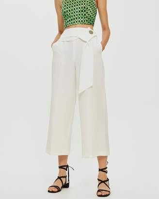 Topshop Button Detail Bonded Crop Wide Trousers