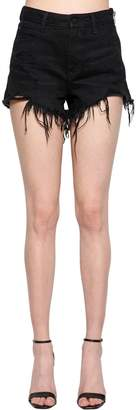 Alexander Wang Destroyed Denim Shorts W/ Side Zip