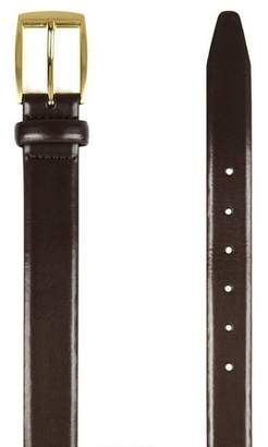 Topman Mens Skinny Smart Belt with Edge Detail and Gold Buckle in Brown