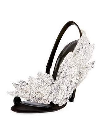 Balenciaga Talon-Heel Satin Embellished Sandal