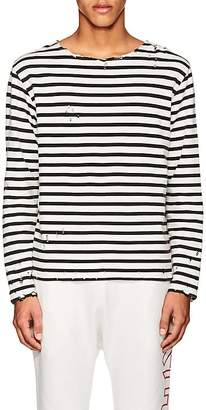 R 13 Men's Breton Distressed Striped Cotton T-Shirt