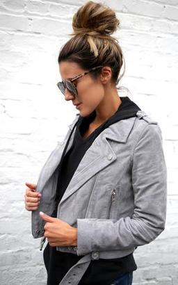 Ily Couture Light Grey Suede Jacket $198 thestylecure.com