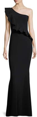 Chiara Boni Custom Collection: Marine One-Shoulder Ruffle Gown