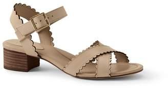 Lands' End Cream Scalloped Block Heel Sandals