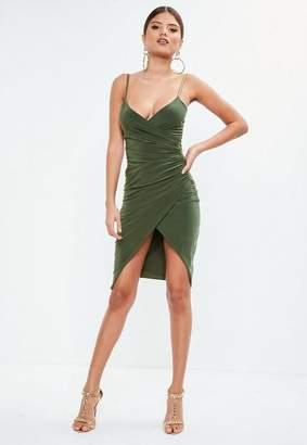 Missguided Khaki Cami Ruched Split Side Midi Dress, Khaki
