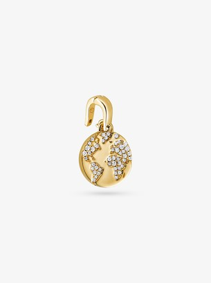 Michael Kors 14K Gold-Plated Sterling Silver Pave World Charm