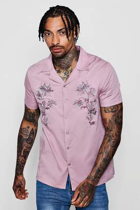 boohoo Revere Short Sleeve Shirt With Embroidery
