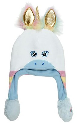 ABG Accessories Unicorn Squeeze and Flap Fun Cold Weather Hat, Little Girls, Age 4-7