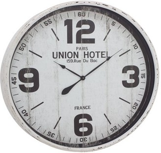 DecMode Decmode Rustic 35 Inch Round White Iron And Wood Vintage Wall Clock