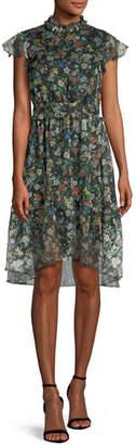 KENDALL + KYLIE Floral-Print Ruffle Knee-Length Dress