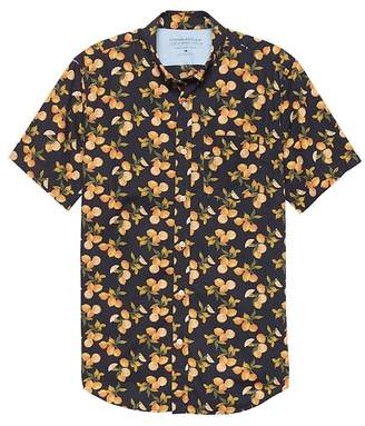 Banana Republic Grant Slim-Fit Luxe Poplin Lemon Print Shirt