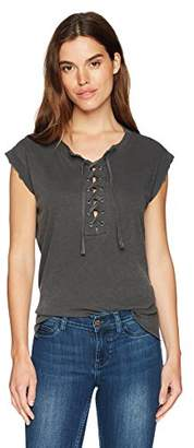 Black Orchid Women's Sleeveless Lace up Tee