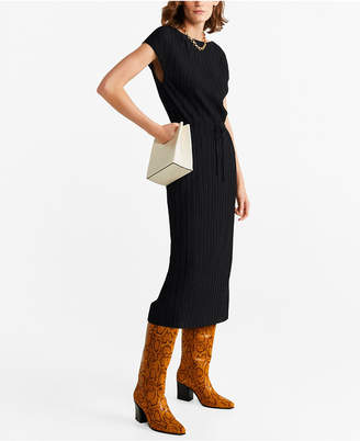 MANGO Pleated Cord Dress