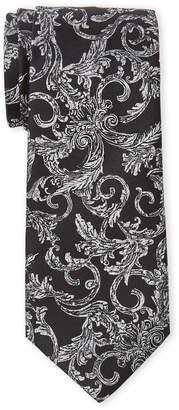 Versace Grey Pattern Silk Tie