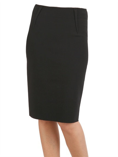 Lanvin Stretch Washed Wool Crepe Skirt