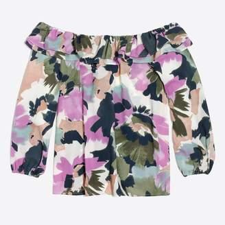 J.Crew Factory Printed ruffle convertible blouse