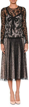 Bottega Veneta Long-Sleeve Round-Neck Allover Lace Dress w/ Bow Detail & Contrast Lining