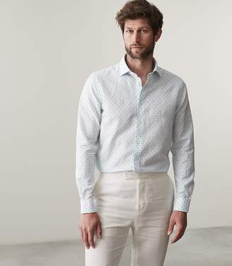 Reiss Joey Long Sleeved Polka Dot Shirt