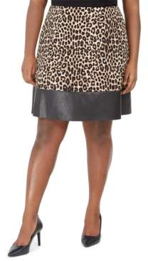 Michael Kors Michael Plus Size Animal-Print Faux-Leather-Trim Skirt