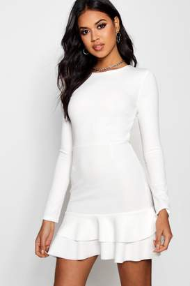 boohoo Ruffle Hem Long Sleeve Dress