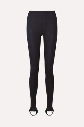 Helmut Lang Ribbed Wool-blend Stirrup Leggings - Midnight blue