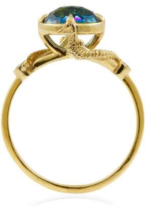 Lee Renee Seahorse Blue Topaz Ring Solid Gold