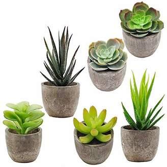 Alöe Supla 6 Pcs Assorted Potted Succulents Plants Decorative Artificial Succulent Plants Potted Faux Cactus with Gray Pots Artificial Topiary Plant Potted
